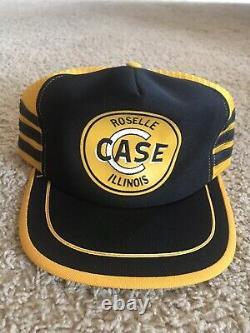 Vintage CASE Tractor Snapback Trucker Hat Cap 3 Stripe MADE IN USA farm