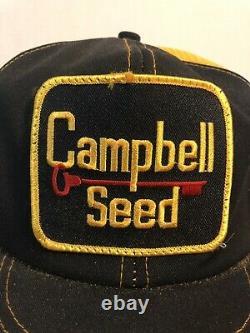 Vintage Campbell Trucker Hat Snapback Cap Patch K Brand Product USA Farm