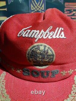 Vintage Campbell's Soup Snapback Trucker Hat Three Stripe Mesh Patch Cap USA