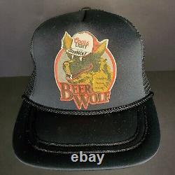 Vintage Coors Light Beer Wolf Hat RARE Black Snapback Trucker Cap