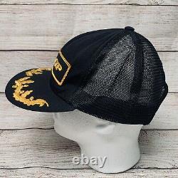 Vintage DUNLOP 80s USA Swingster Black Trucker Hat Cap Snapback Gold Egg Patch