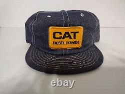 Vintage Denim CAT Diesel Power Trucker Hat Snapback Cap Patch Louisville Mfg