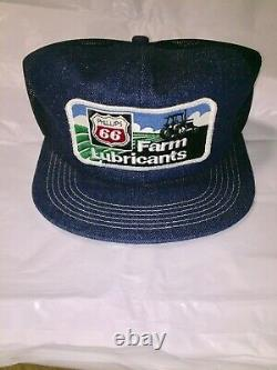 Vintage Denim Snapback Trucker Hat Phillips 66 Farm Lubricants Cap K-Brand USA
