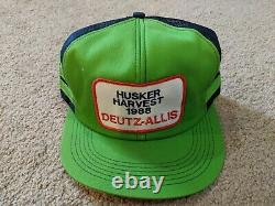 Vintage Deutz-Allis 3 Stripe Mesh Trucker Hat Snapback Hat Cap Husker Harvest 88