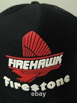 Vintage FIRESTONE Snapback Trucker Hat 3 Stripe Mesh Cap USA NOS MINT SCARCE