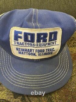 Vintage FORD TRACTOR Snapback Trucker Hat Mesh Patch Cap K Brand USA MATTOON IL