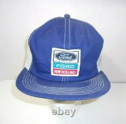 Vintage Ford New Holland K Products Mesh Trucker Snapback Hat Cap Patch USA