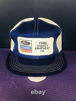 Vintage Ford-New Holland Trucker Snapback Hat Patch Mesh Cap K-Products Brand