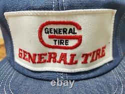 Vintage GENERAL TIRE Denim SnapBack Trucker Hat Cap HUGE Patch LEGEND Made USA