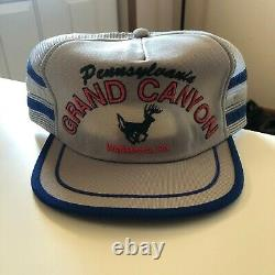 Vintage Grand Canyon Deer 3 Stripe Mesh Trucker Hat Snapback Hat Cap USA Made
