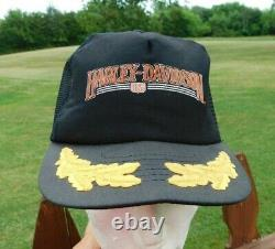 Vintage Harley Davidson Snapback Trucker Hat Cap Black Mesh Biker Made in USA