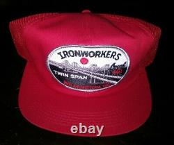 Vintage IRONWORKERS PATCH MESH SNAPBACK TRUCKER HAT CAP K-BRAND USA RARE NOS