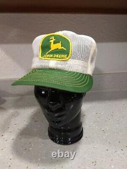 Vintage JOHN DEERE All Mesh Snapback Trucker Patch Cap Hat LOUISVILLE MFG CO USA
