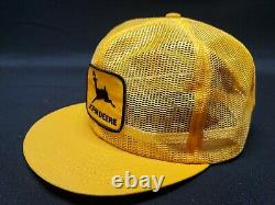 Vintage JOHN DEERE Full Mesh Louisville Mfg SnapBack Trucker Hat Cap PatchUSA 2