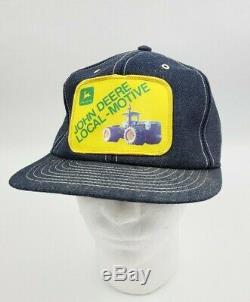 Vintage John Deere Denim Snapback Hat Trucker Patch Cap Louisville USA RARE HTF