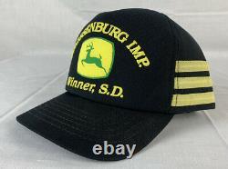 Vintage John Deere Hat 3 Stripe Trucker Cap Snapback Made in USA 80s