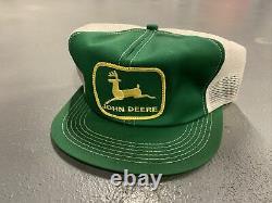 Vintage John Deere K Brand Green Mesh Trucker SnapBack Hat Cap Patch USA