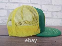 Vintage John Deere Patch Snapback Trucker Hat Cap 70s 80s USA Green Yellow