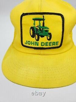 Vintage K-BRAND John Deere Patch Snapback Hat Mesh Trucker Cap Tractor RARE