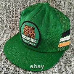 Vintage Kodiak Racing Trucker Hat K Products 3 Stripe Mesh Snapback Cap USA EUC