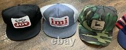 Vintage LOT 5 Snapback Trucker Hat PATCH Cap K-Products Louisville USA 3 Stripe