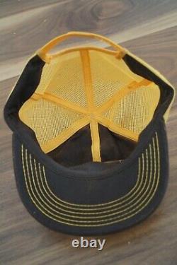 Vintage Lawson Patch Mesh Snapback Cap Trucker Hat USA K-Brand Brown Yellow (L3)