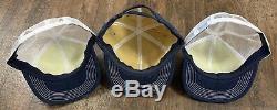 Vintage Lot (3) NEW HOLLAND K-Products USA Snapback Denim Trucker Patch Hat Cap