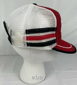 Vintage Motorcraft 3-stripe Trucker Snapback Mesh Hat Cap Puffy Made in USA EUC