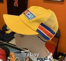 Vintage NASCAR 3 Three Stripe Trucker Hat Cap Snap Back RARE Made in USA