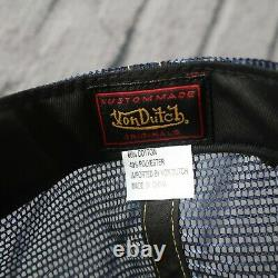 Vintage New Von Dutch Logo Herringbone Mesh Trucker Snapback Hat Cap