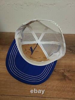 Vintage PEPSI-COLA 3 Stripe Snapback Trucker Hat Cap. Cracked bill