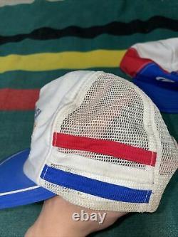 Vintage Pepsi Cola Snapback Trucker Hat Cap Lot 2 Three Stripes Mesh Diet Pepsi