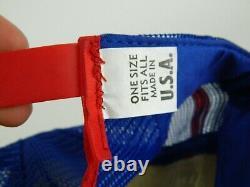 Vintage Pepsi Power 3 Stripe Cola Trucker Cap Snapback Hat Mesh Red White Blue