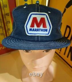 Vintage RARE Denim LOUISVILLE Trucker Hat MARATHON Gas & Oil Patch Cap Hat, USA
