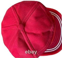 Vintage RED WING SHOES SnapBack Trucker Hat Cap Made In USA Medium Mesh