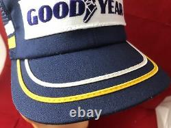 Vintage Rare Hipster Trucker Hat Baseball Cap Goodyear Patch 2 Stripe Snapback