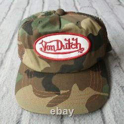 Vintage Rare Von Dutch Logo Camo Mesh Trucker Snapback Hat Cap Camouflage 1