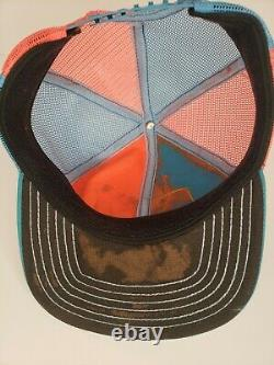 Vintage Richard Petty Nascar Pinwheel Orange Teal Patch Snapback Trucker Hat Cap