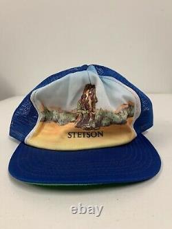 Vintage STETSON Cowboy Horse 70s USA Union Made Trucker Hat Cap Snapback RARE LG