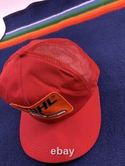 Vintage STIHL Chainsaw Snapback Foam Trucker Hat USA Rare Red 80s K Brand Cap