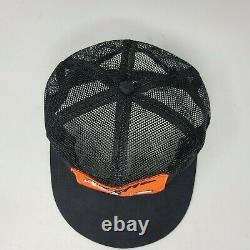 Vintage STIHL Trucker Hat K Products Black Orange Mesh Snap Back Cap Made In USA