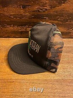 Vintage Snapback Cap Vietnam Veteran Damn Proud Trucker Hat Camouflage Mesh USA