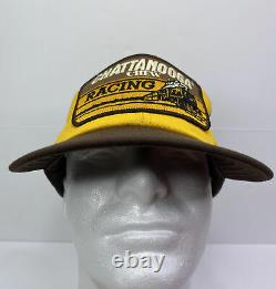 Vintage Snapback Chattanooga Chew Racing Trucker Hat Cap USA Made Big Patch 80s