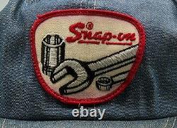Vintage Snapback Patch Hat SNAP-ON Denim & Mesh Trucker Cap K-Products USA