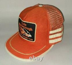 Vintage Snapback Trucker Hat Patch Cale Yarborough 3 Stripe Hardee's Racing Cap
