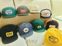 Vintage Trucker Hat Cap Lot 20 All Patch Snapback K Brand Farmer Denim CAT USA