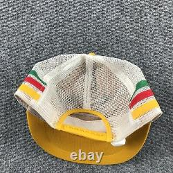 Vintage Trucker Hat Cap Made USA 3 Stripe Mesh Snapback Farmer Kerr Drug 80s