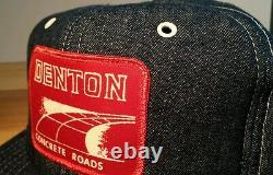 Vtg 70s Farm Denim Snapback Trucker Motorcycle Hat Cap Construction Work Jean
