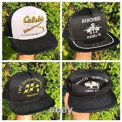 Vtg 80s 90s Trucker Hat Lot 30 Snapback Patch Mesh Local Hat Cap Advertising