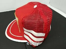 Vtg 80s Bobby Allison 3 Stripe Red Nascar Patch snapback trucker Hat Cap US made